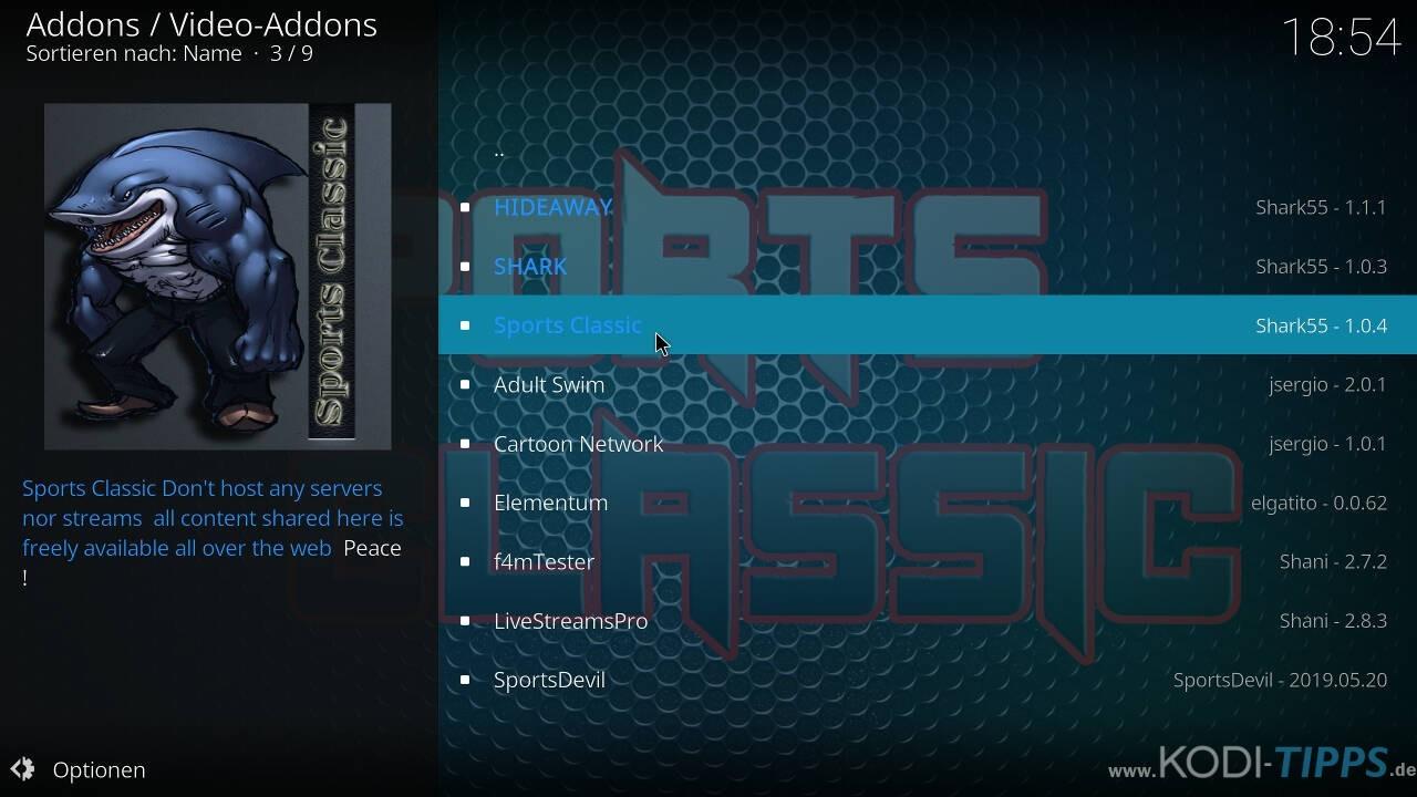 Sports Classic Kodi Addon installieren - Schritt 7