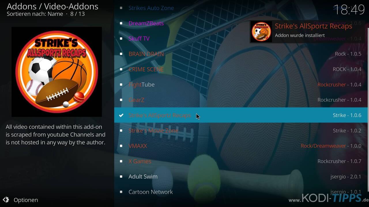 Strikes AllSportz Recaps Kodi Addon installieren - Schritt 10
