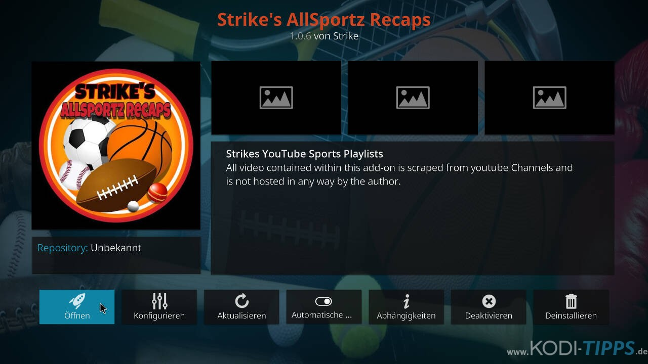 Strikes AllSportz Recaps Kodi Addon installieren - Schritt 11