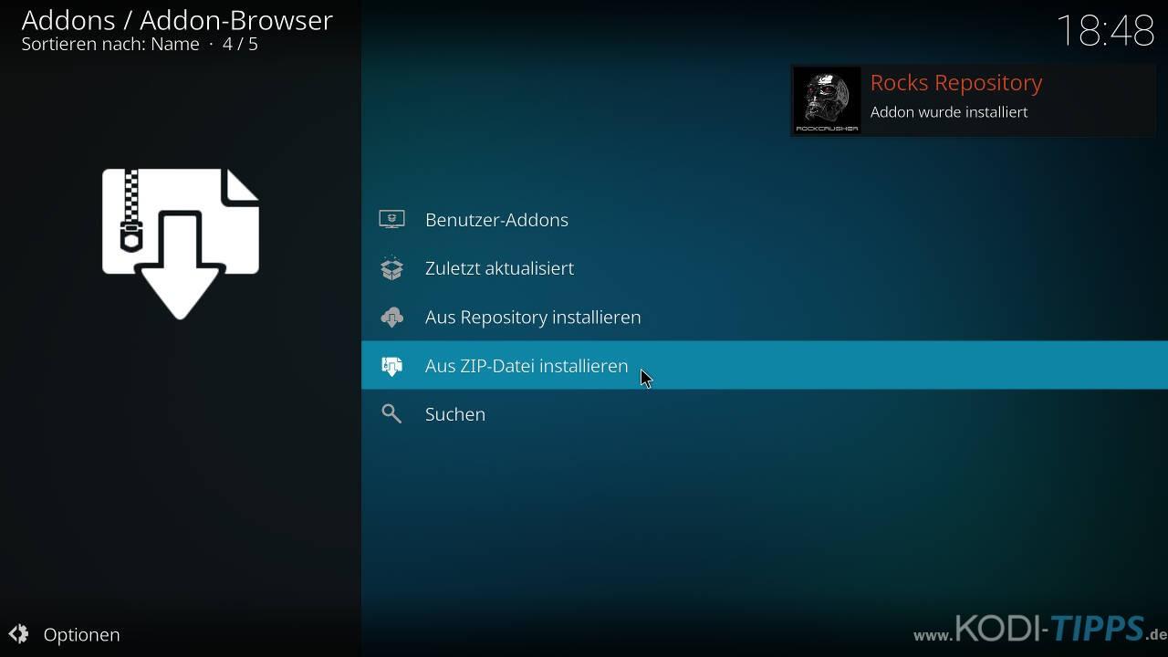 Strikes AllSportz Recaps Kodi Addon installieren - Schritt 3