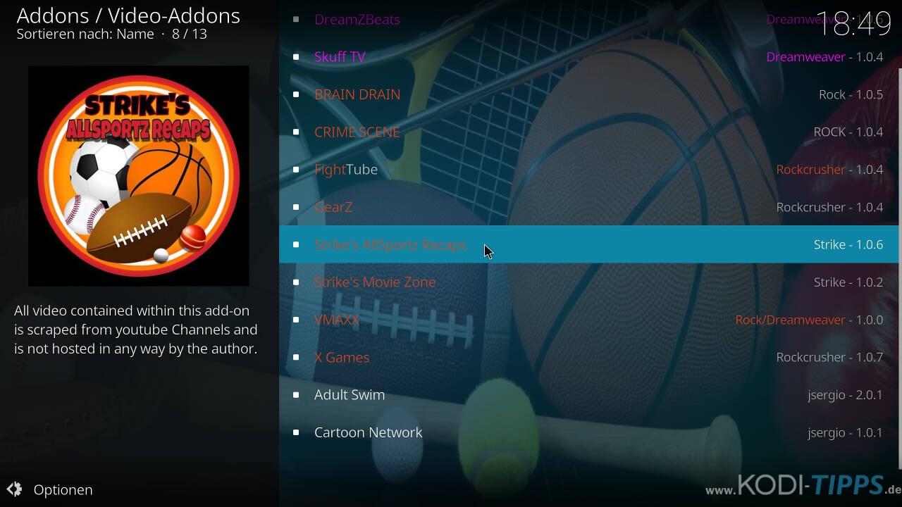 Strikes AllSportz Recaps Kodi Addon installieren - Schritt 7