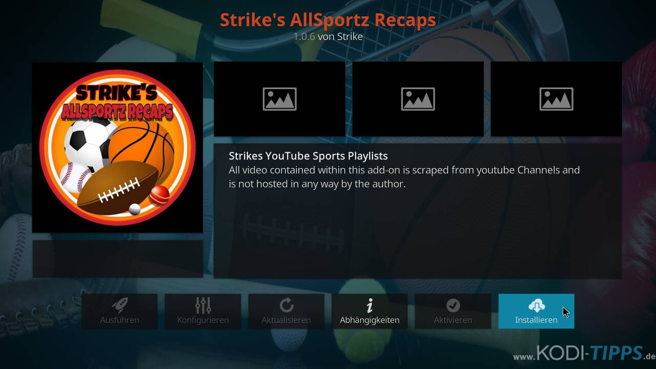 Strikes AllSportz Recaps Kodi Addon installieren - Schritt 8
