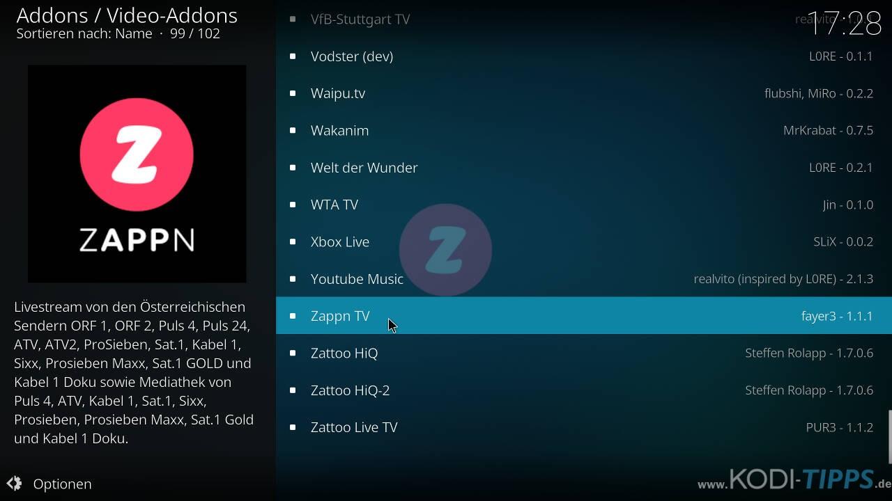 ZAPPN TV Kodi Addon installieren - Schritt 2