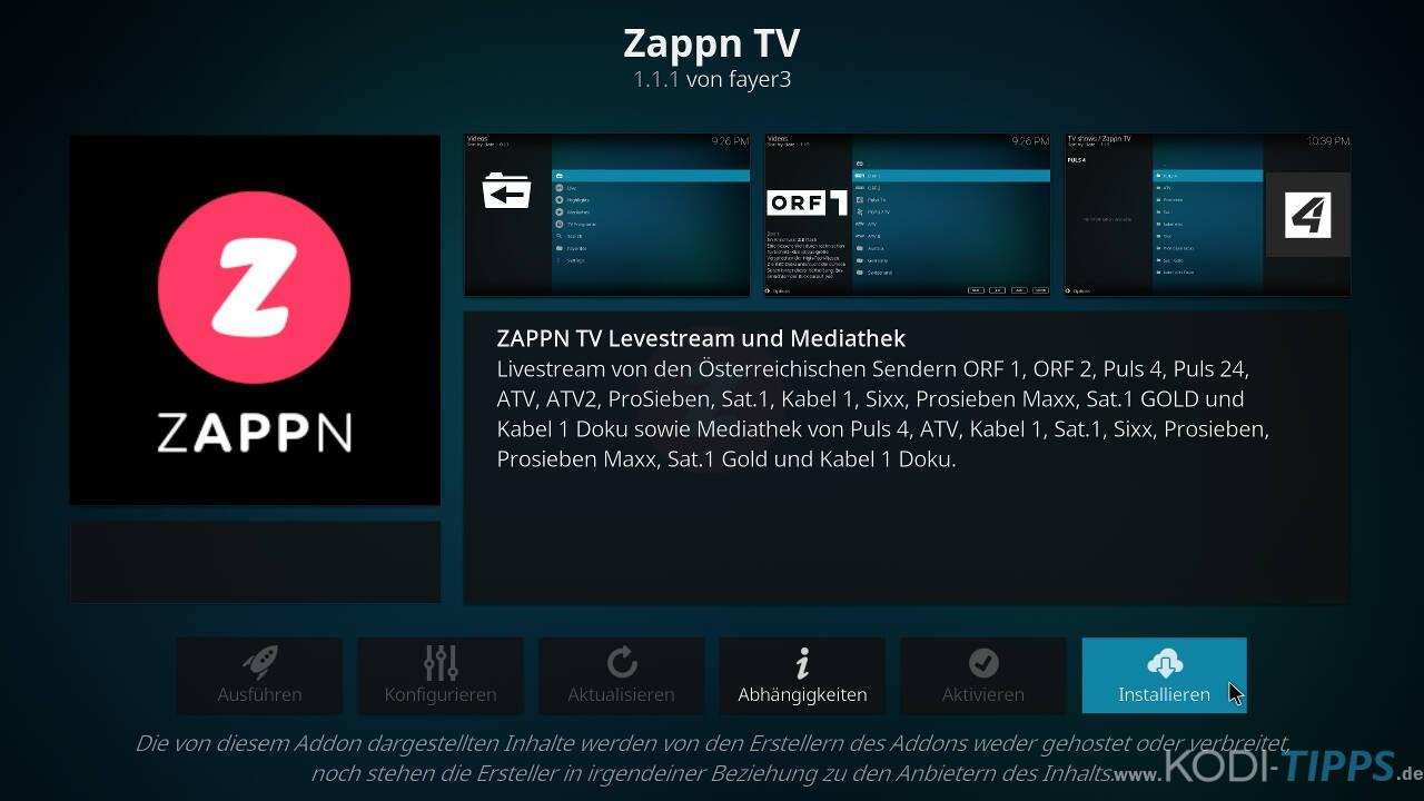 ZAPPN TV Kodi Addon installieren - Schritt 3