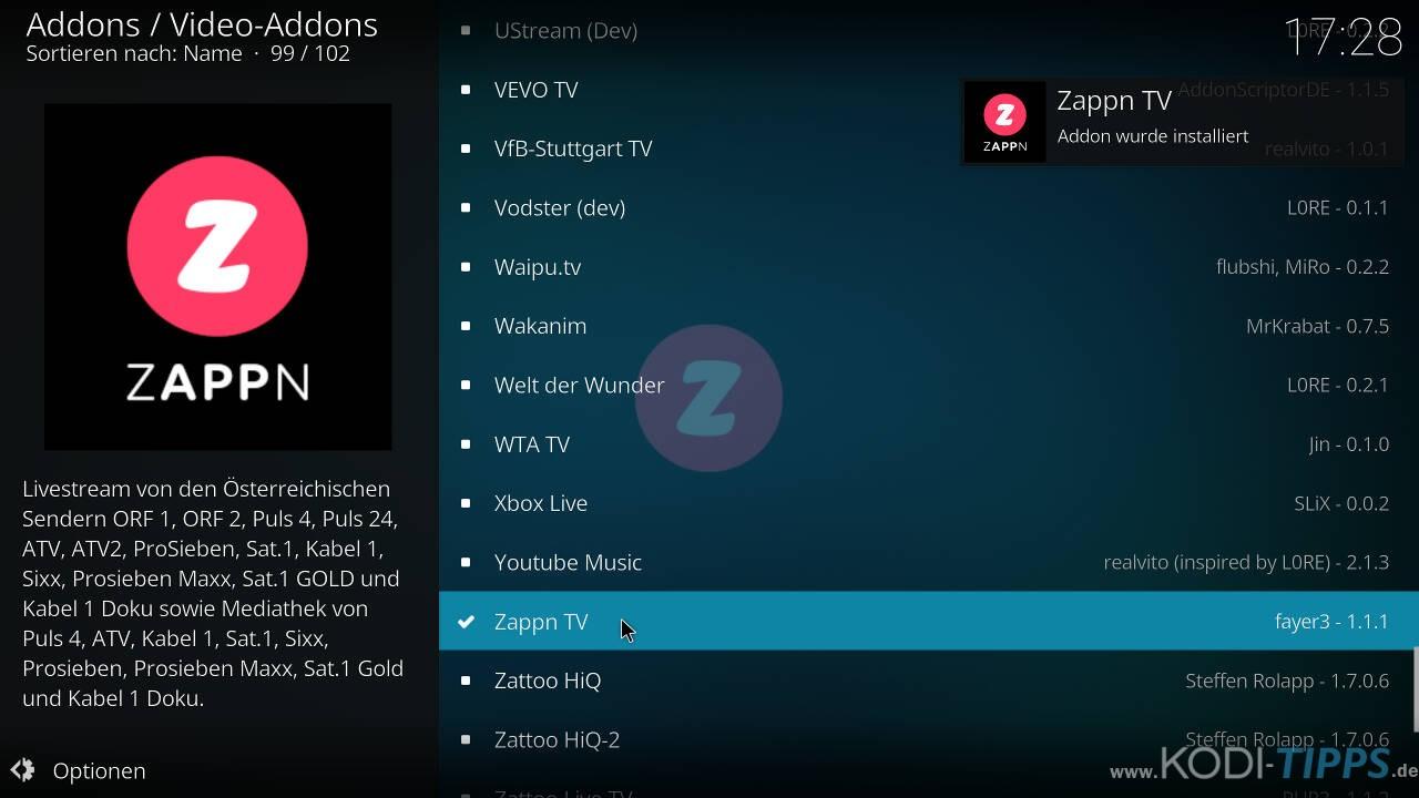 ZAPPN TV Kodi Addon installieren - Schritt 5