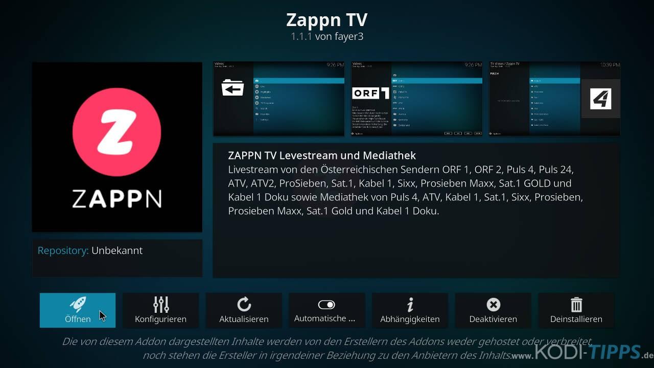 ZAPPN TV Kodi Addon installieren - Schritt 6