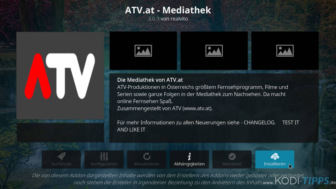 ATV Mediathek Kodi Addon installieren - Schritt 3