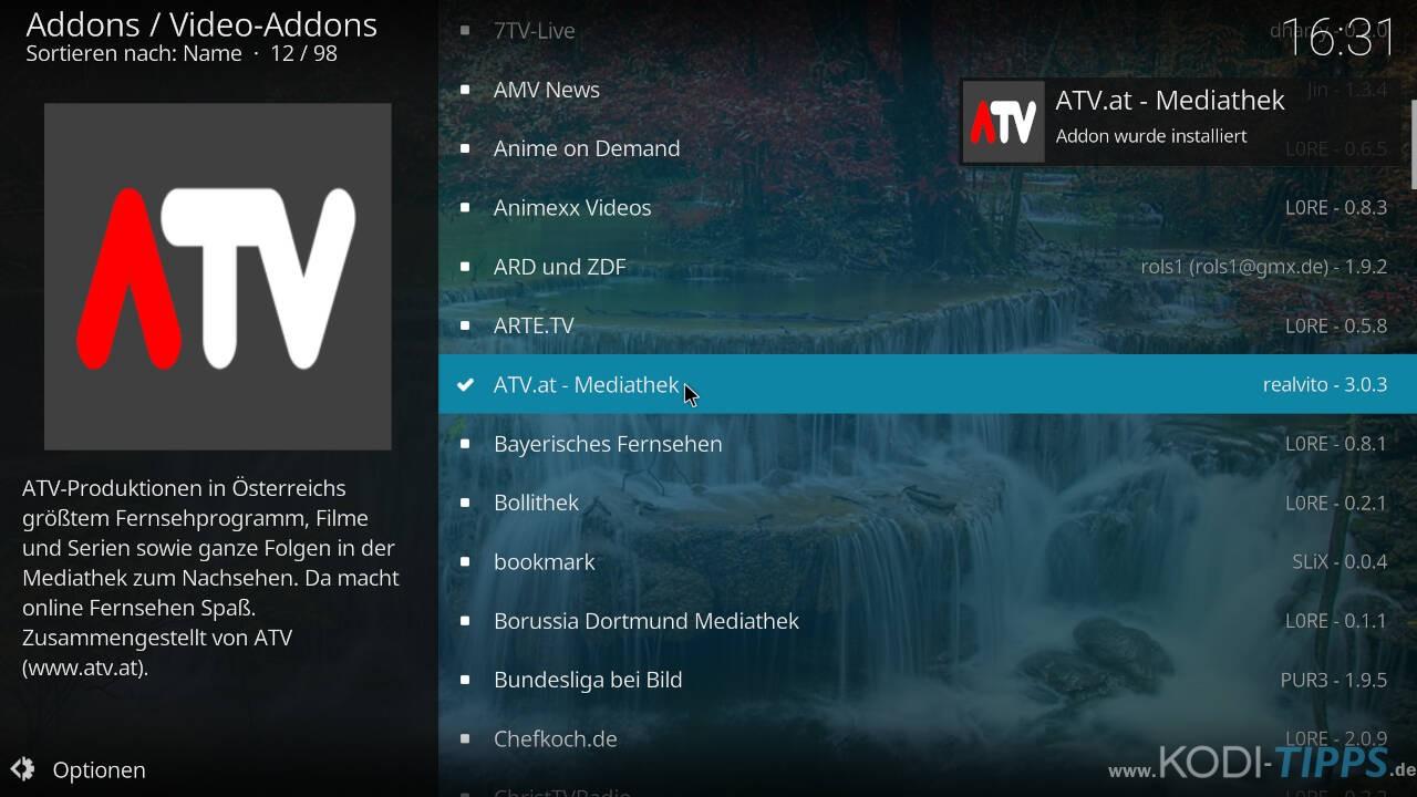 ATV Mediathek Kodi Addon installieren - Schritt 5