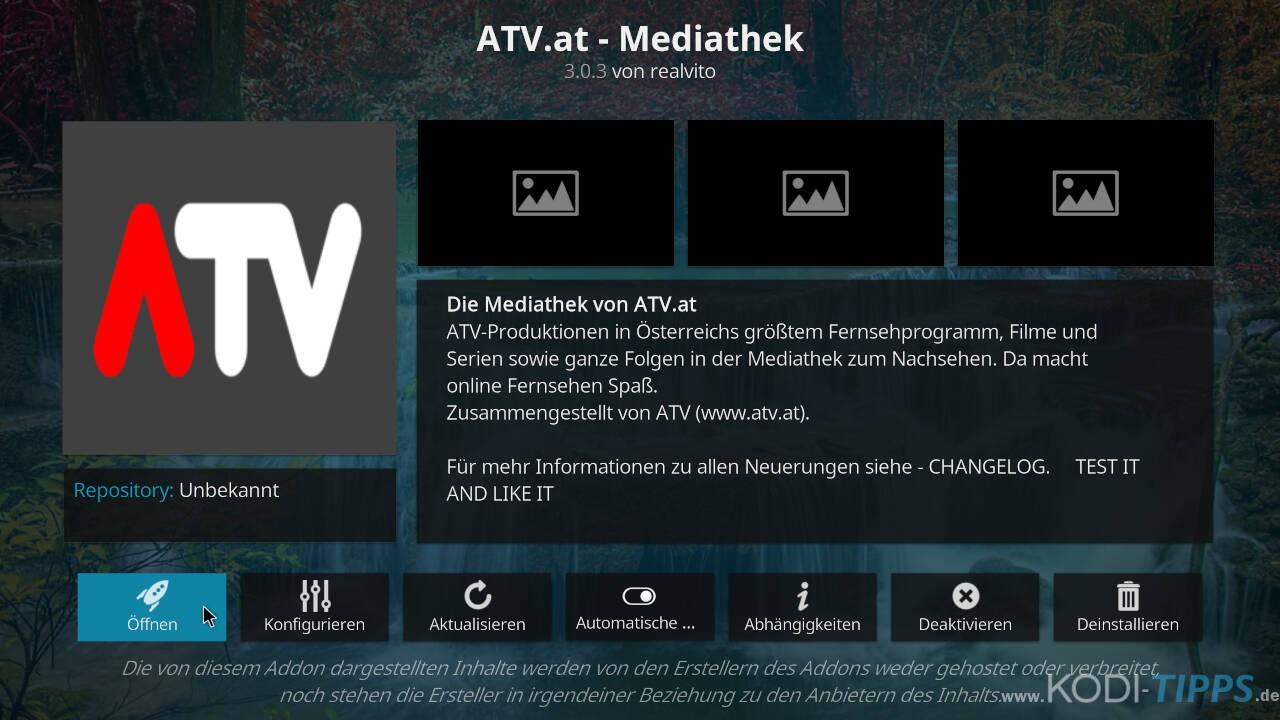 ATV Mediathek Kodi Addon installieren - Schritt 6