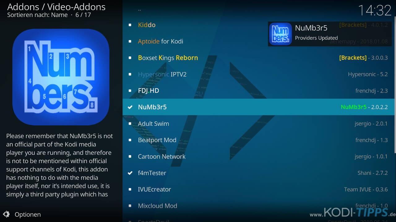 Numbers Kodi Addon installieren - Schritt 11