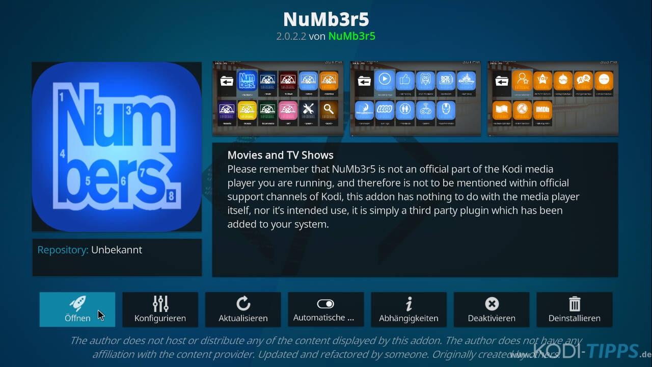 Numbers Kodi Addon installieren - Schritt 12