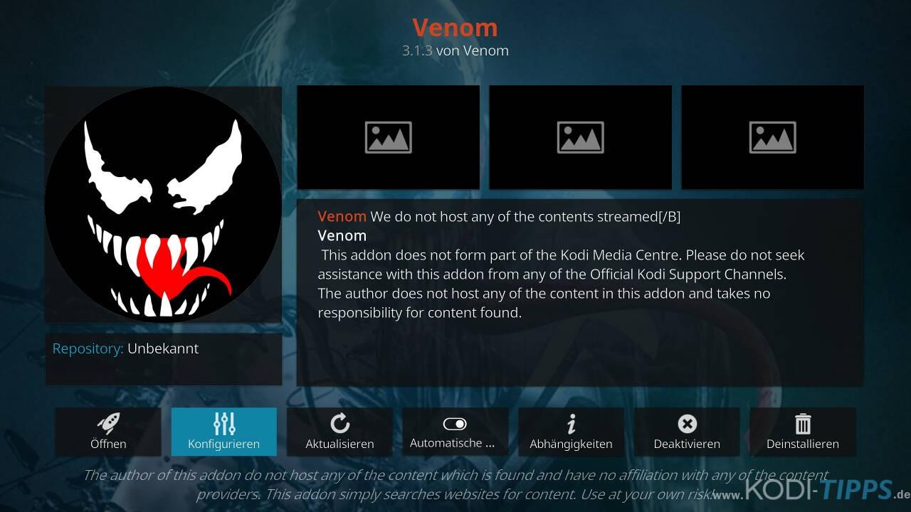 Venom Kodi Addon - Deutsche Indexseiten aktivieren - Schritt 1