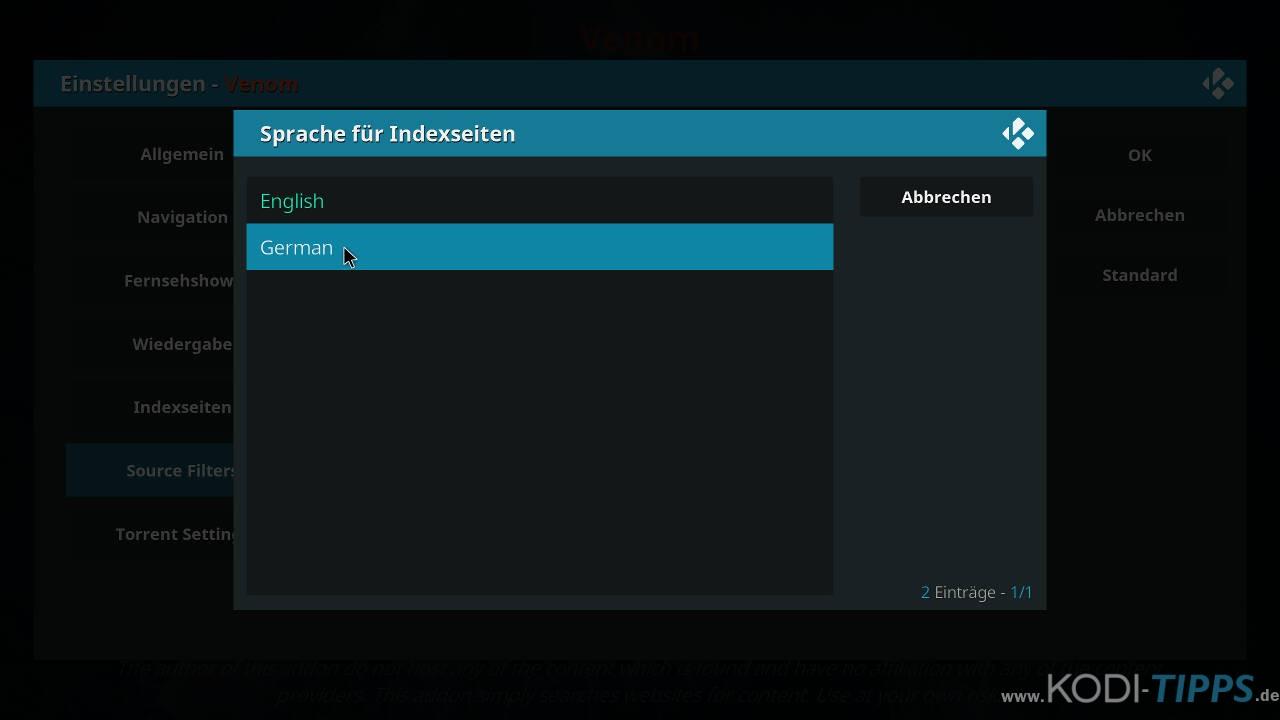 Venom Kodi Addon - Deutsche Indexseiten aktivieren - Schritt 3