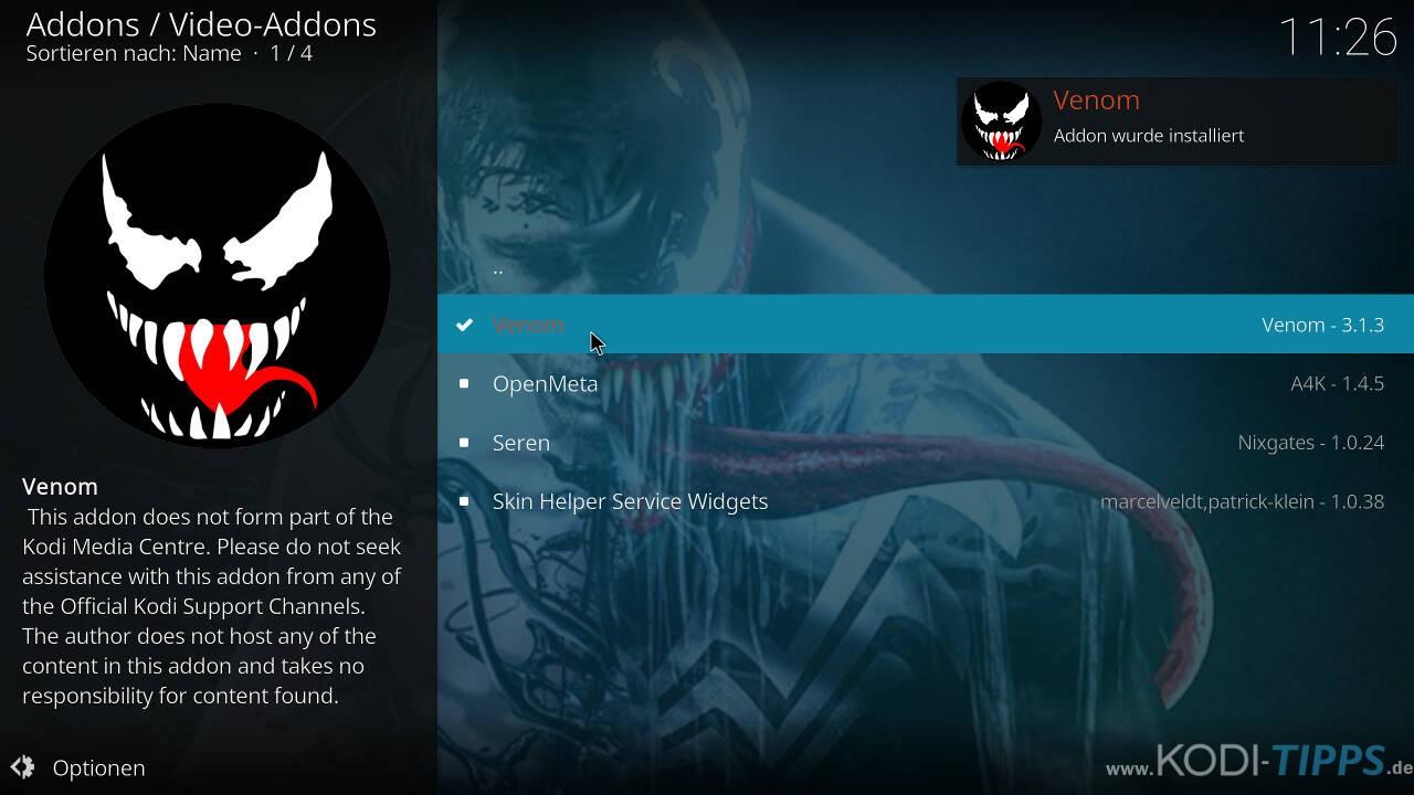 Venom Kodi Addon installieren - Schritt 10