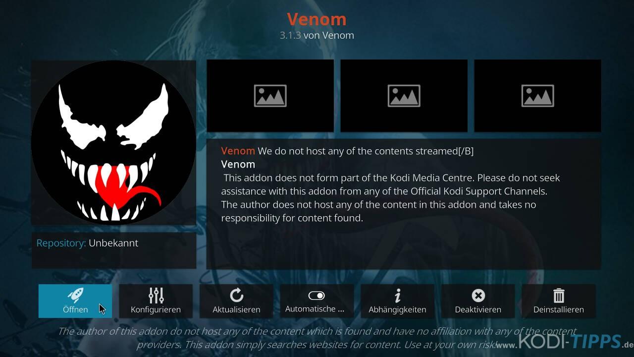 Venom Kodi Addon installieren - Schritt 15