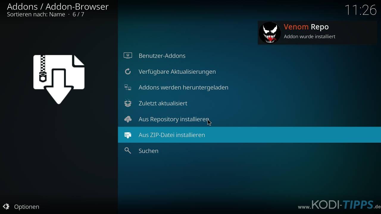 Venom Kodi Addon installieren - Schritt 3