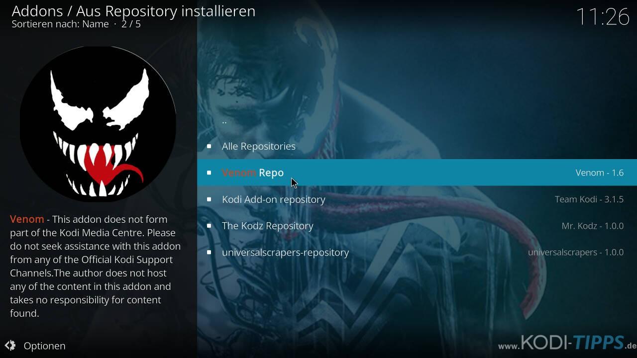 Venom Kodi Addon installieren - Schritt 5