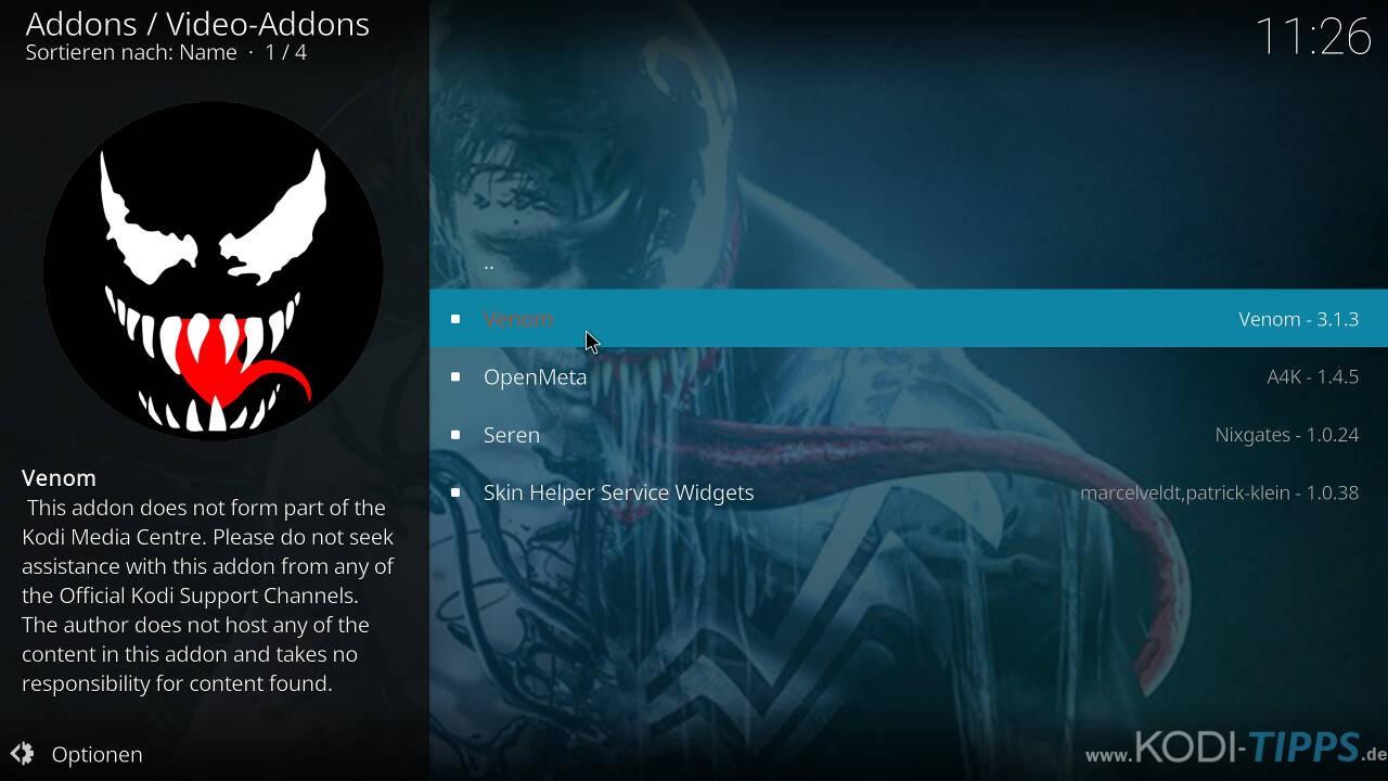 Venom Kodi Addon installieren - Schritt 7