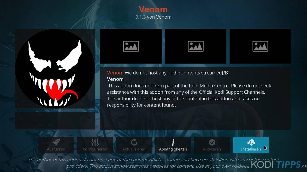 Venom Kodi Addon installieren - Schritt 8