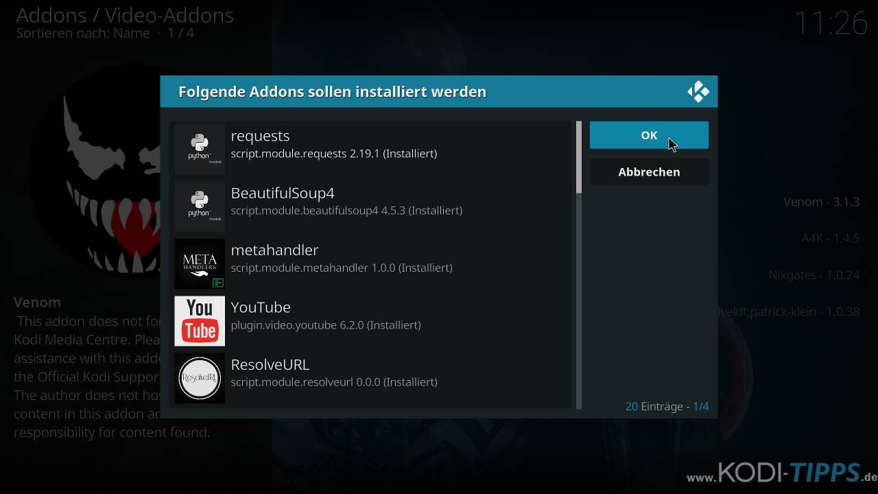 Venom Kodi Addon installieren - Schritt 9