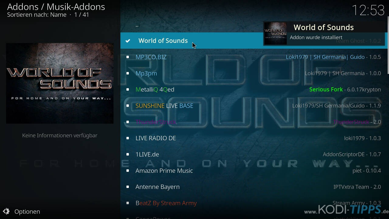 World of Sounds Kodi Addon installieren - Schritt 11
