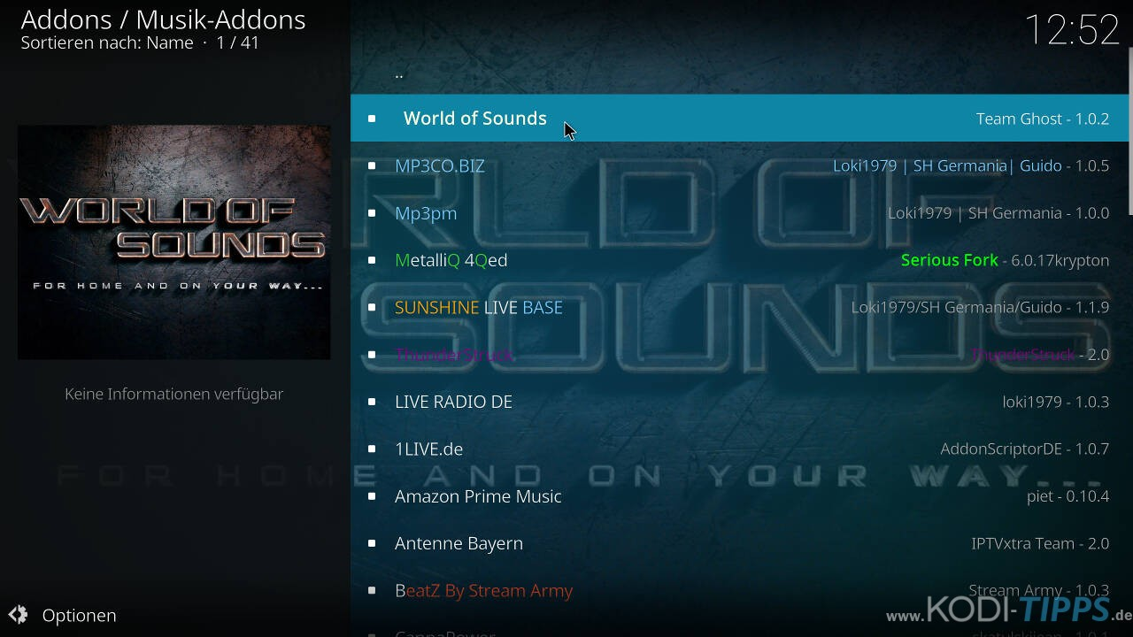 World of Sounds Kodi Addon installieren - Schritt 7