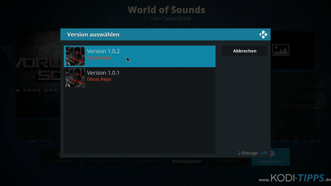 World of Sounds Kodi Addon installieren - Schritt 9