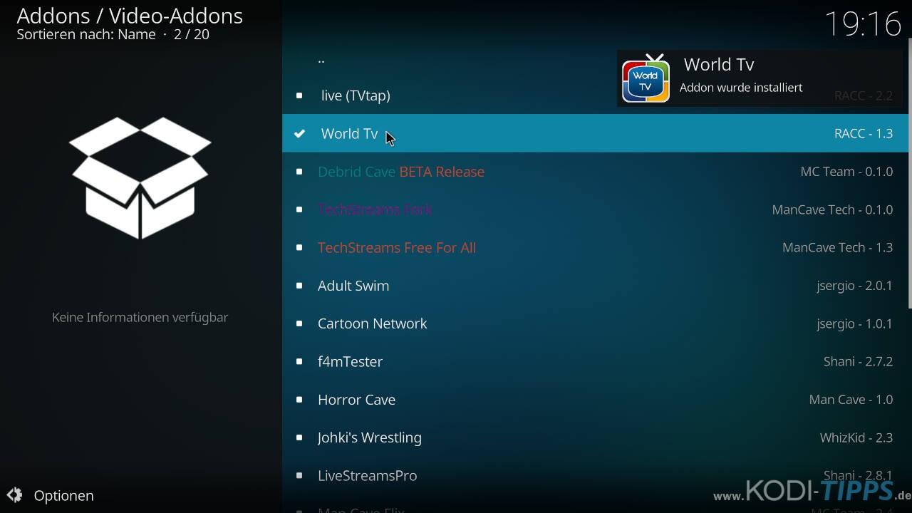 World TV Kodi Addon installieren - Schritt 10