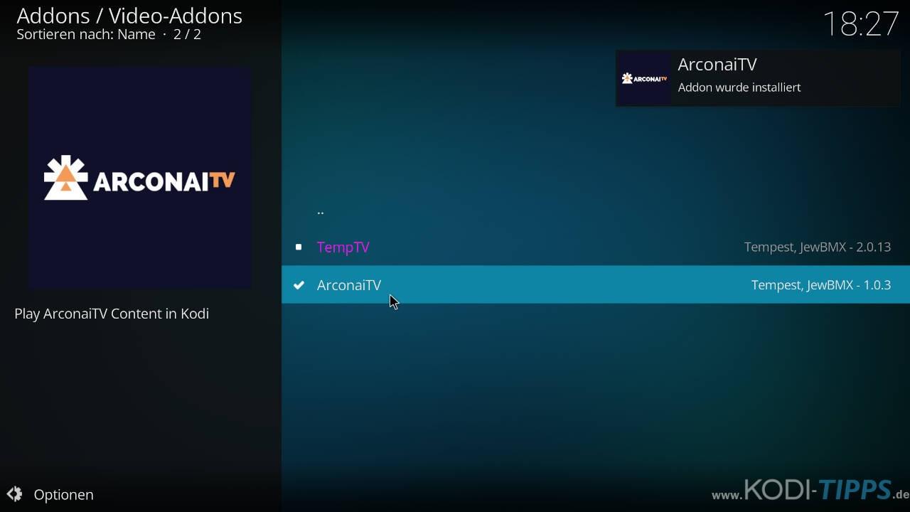 Arconai TV Kodi Addon installieren - Schritt 10