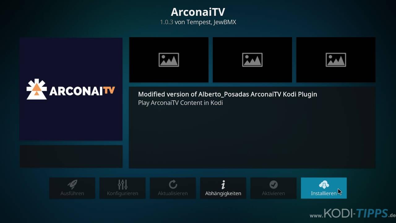 Arconai TV Kodi Addon installieren - Schritt 8