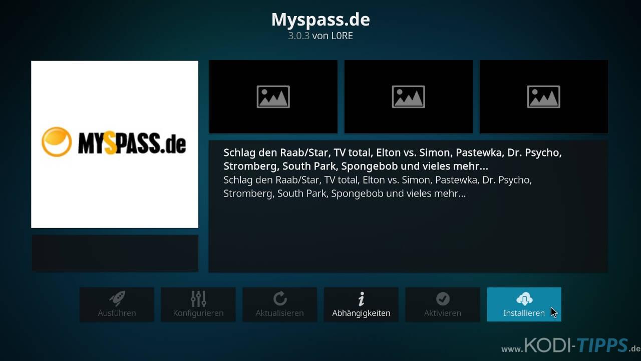 MySpass Kodi Addon installieren - Schritt 3