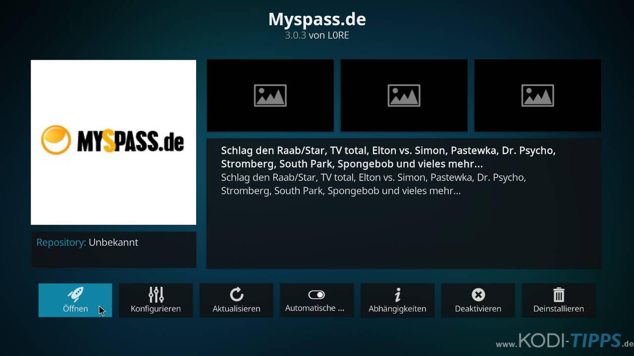 MySpass Kodi Addon installieren - Schritt 6