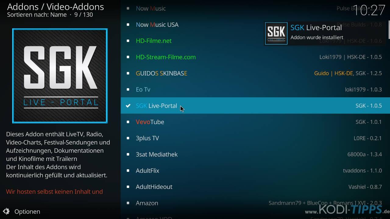 SGK Live Portal Kodi Addon installieren - Schritt 10