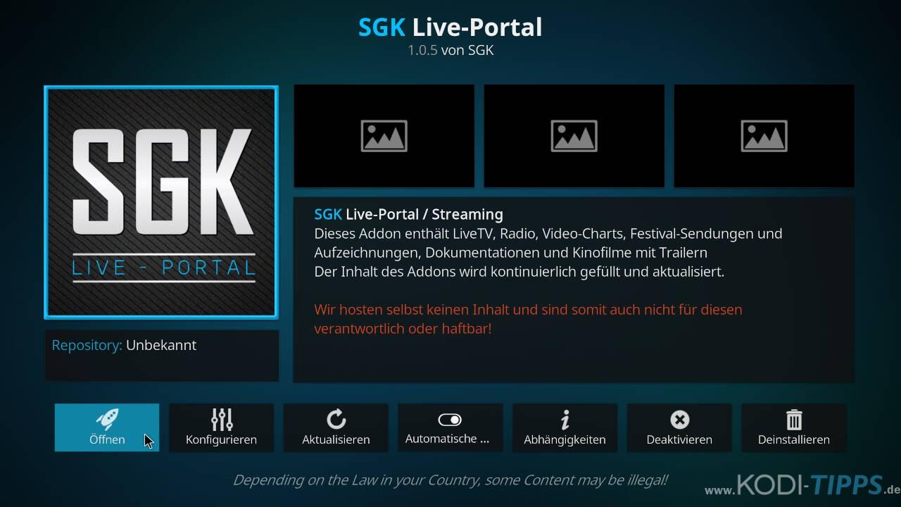 SGK Live Portal Kodi Addon installieren - Schritt 11