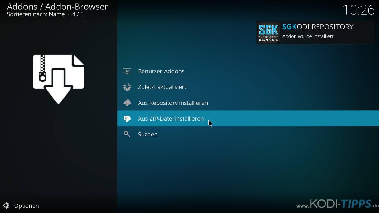 Meldung SGK Kodi Repository erfolgreich installiert