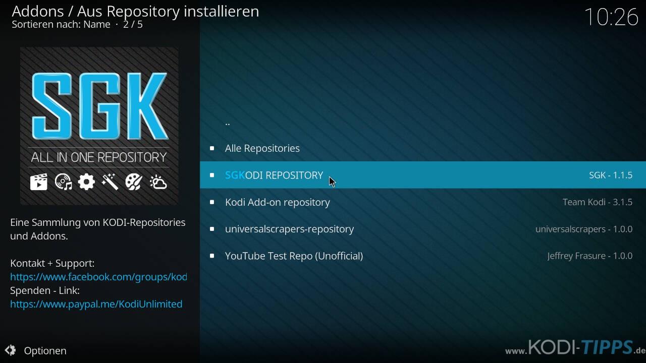 SGK Live Portal Kodi Addon installieren - Schritt 5