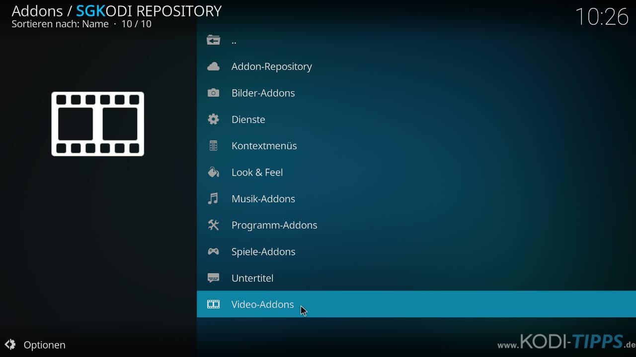 SGK Live Portal Kodi Addon installieren - Schritt 6