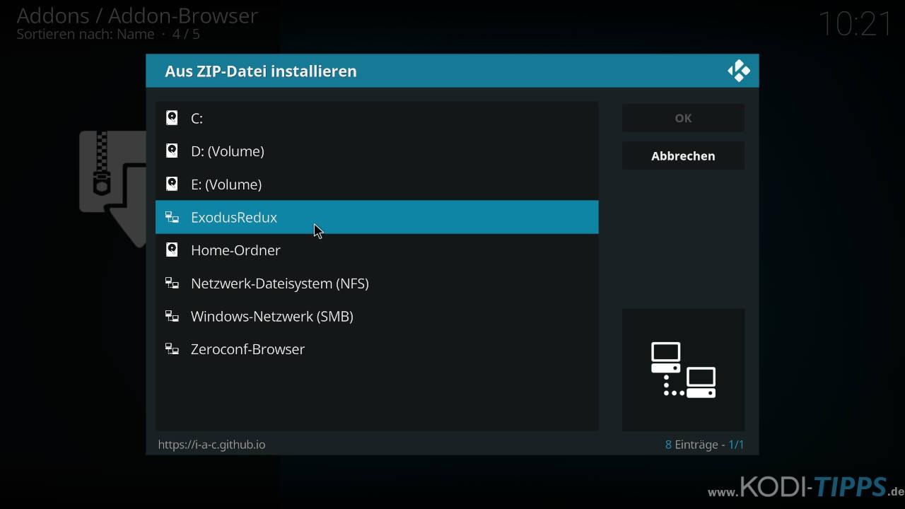 Exodus Redux Kodi Addon installieren - Schritt 1