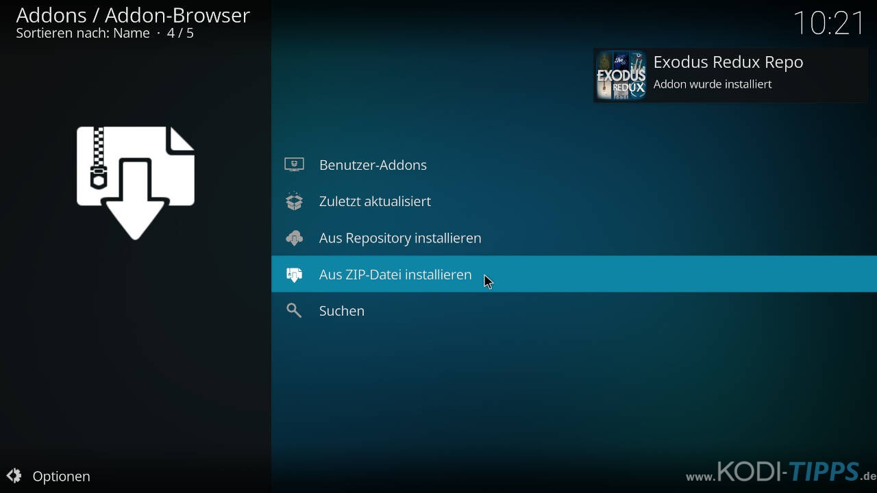 Exodus Redux Kodi Addon installieren - Schritt 3