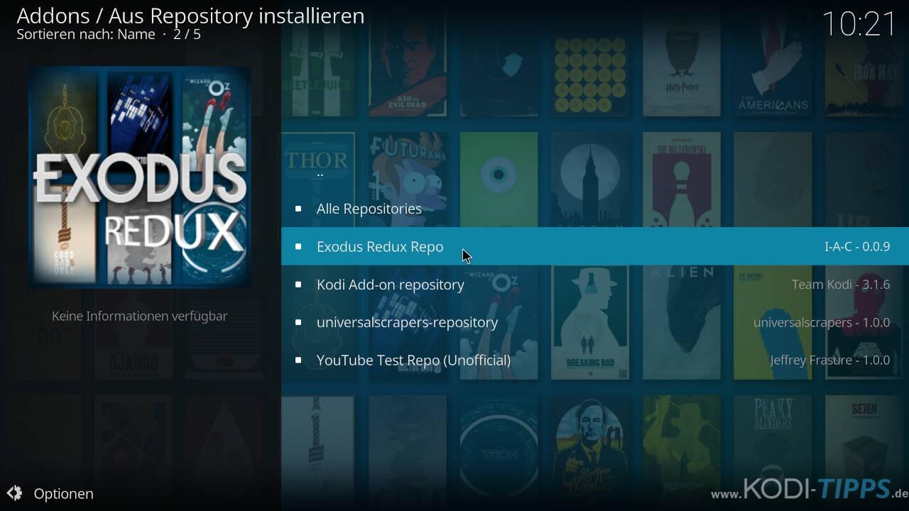 Exodus Redux Kodi Addon installieren - Schritt 5