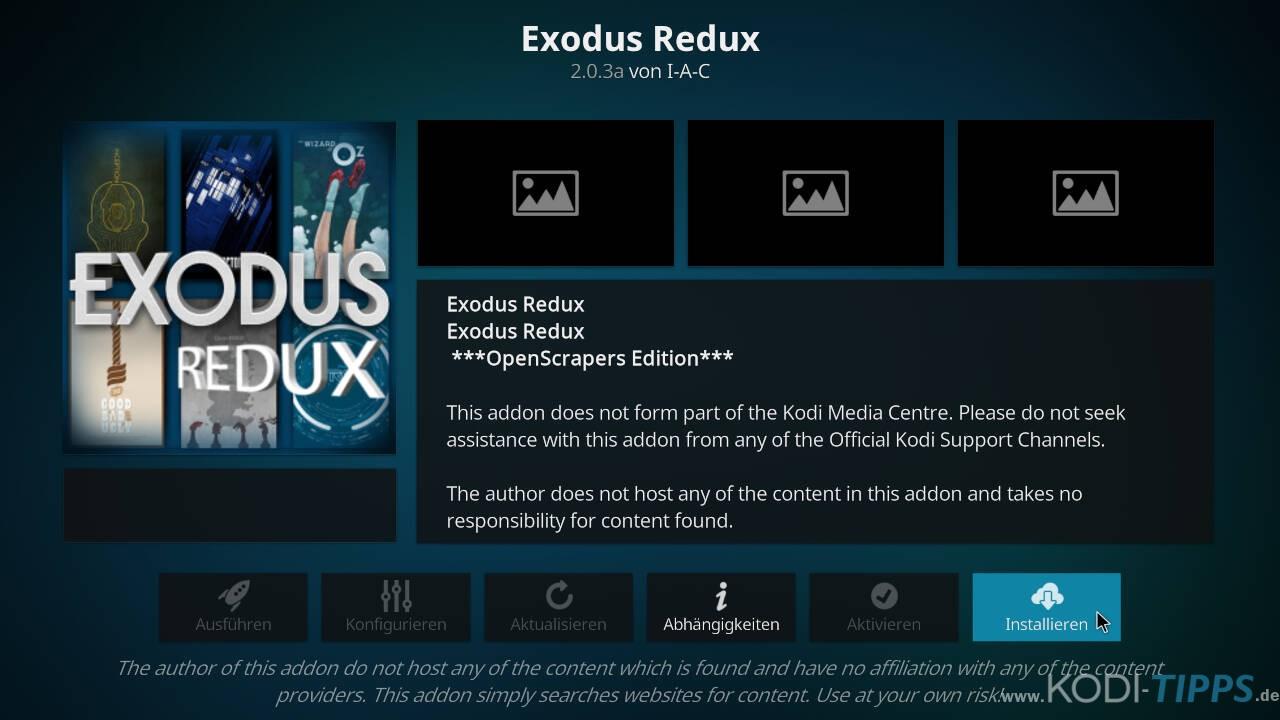 Exodus Redux Kodi Addon installieren - Schritt 8