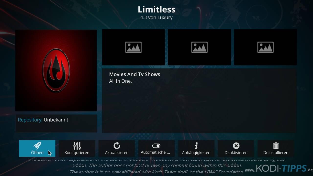 Limitless Kodi Addon installieren - Schritt 11