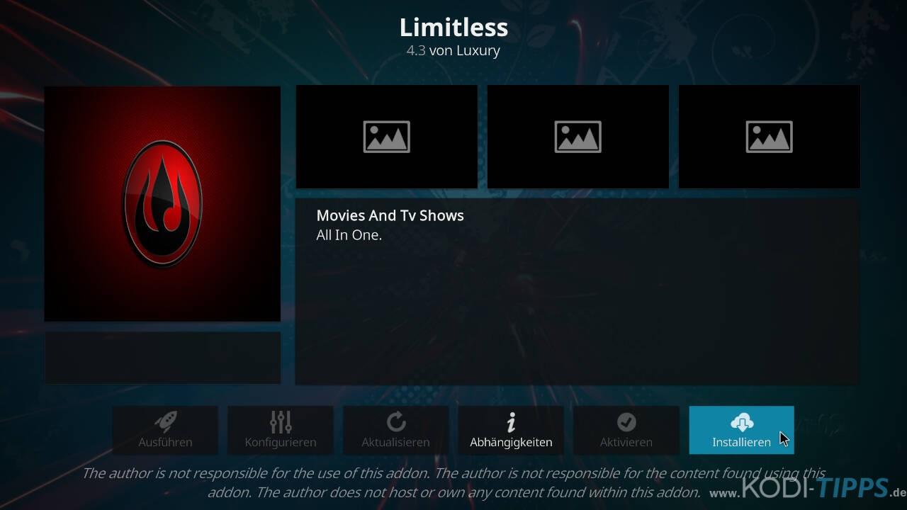 Limitless Kodi Addon installieren - Schritt 8