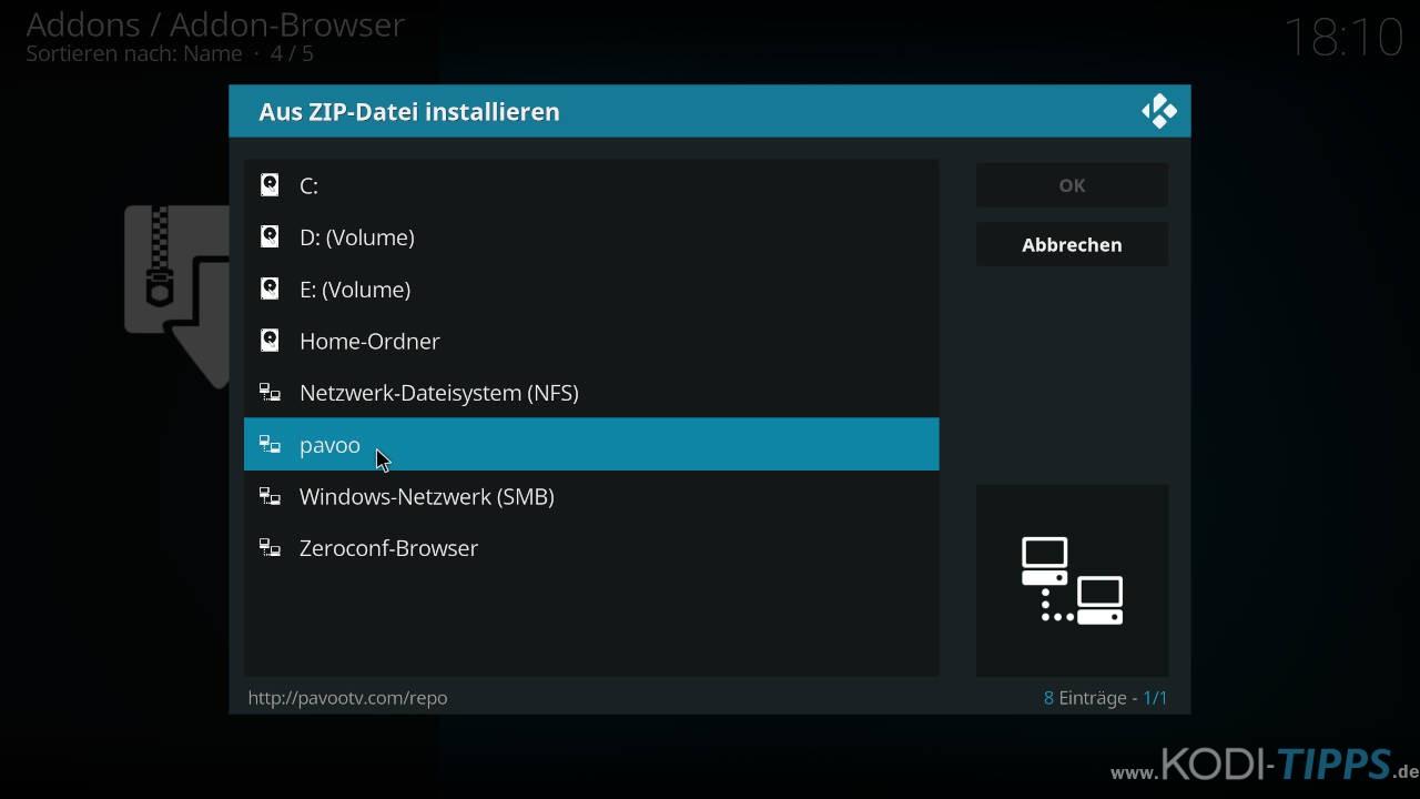 Pavoo TV Kodi Addon installieren - Schritt 1
