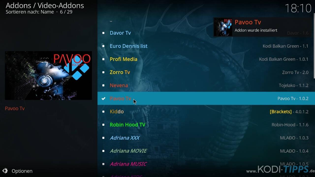Pavoo TV Kodi Addon installieren - Schritt 10