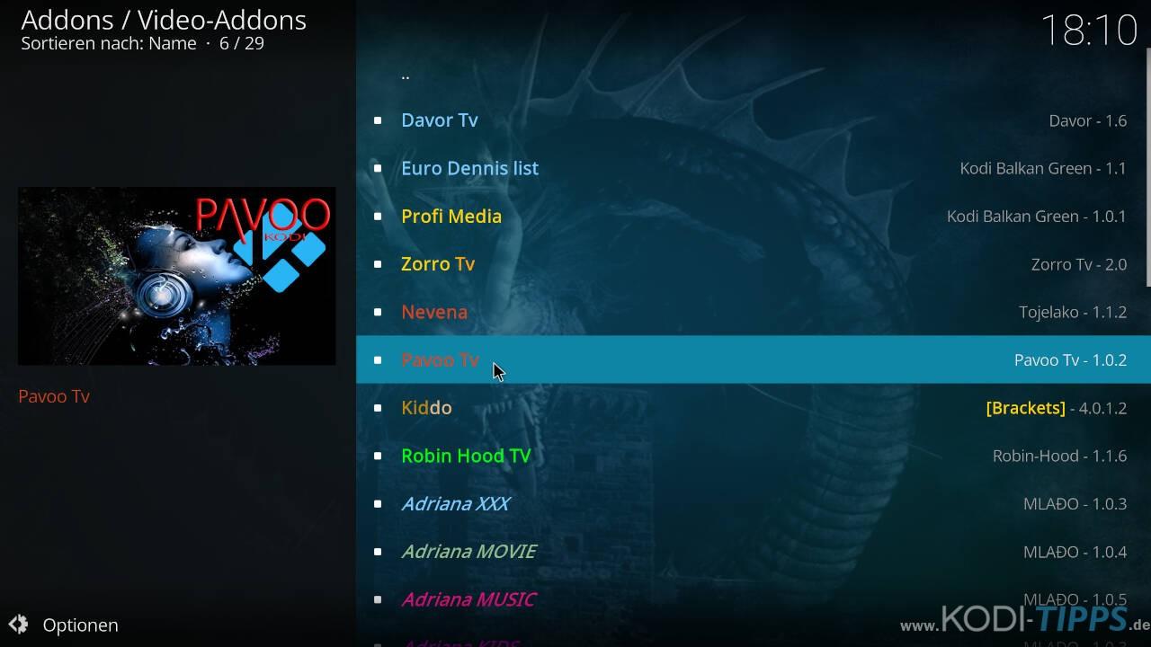 Pavoo TV Kodi Addon installieren - Schritt 7
