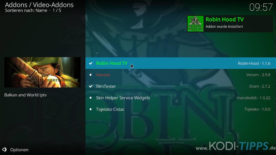 Robin Hood TV Kodi Addon installieren - Schritt 10
