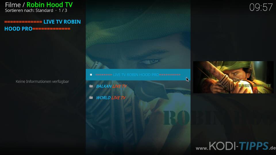 Robin Hood TV Kodi Addon installieren - Schritt 12