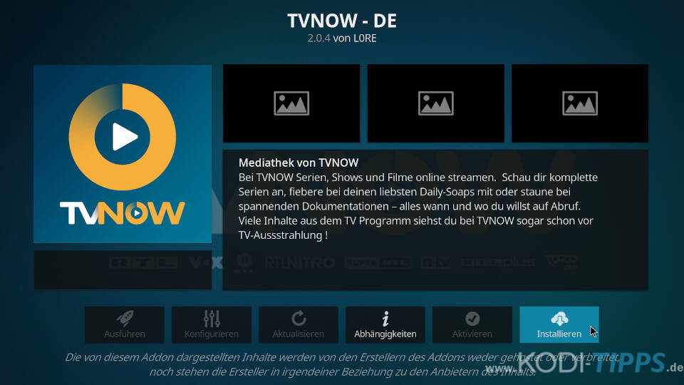 TV NOW Kodi Addon installieren - Schritt 3