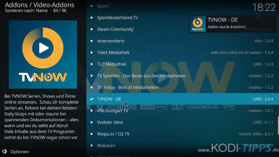 TV NOW Kodi Addon installieren - Schritt 5